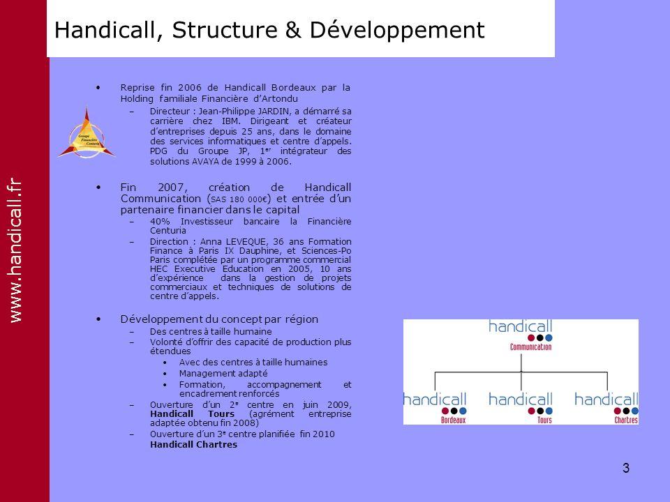www.handicall.fr Handicall, Structure & Développement Reprise fin 2006 de Handicall Bordeaux par la Holding familiale Financière dArtondu –Directeur :
