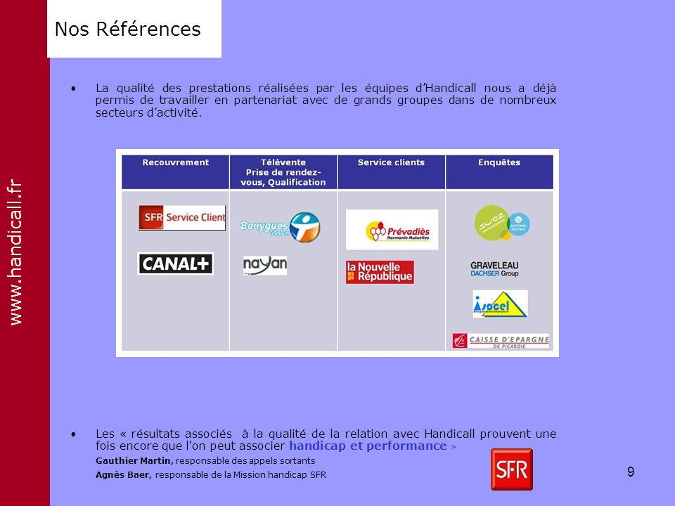 www.handicall.fr Nos Références La qualité des prestations réalisées par les équipes dHandicall nous a déjà permis de travailler en partenariat avec d