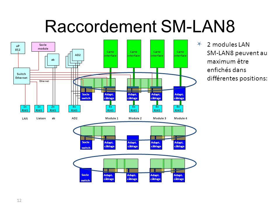 12 Adapt. câblage Socle switch AD2. ab Ethernet Adapt. câblage Raccordement SM-LAN8 LiaisonAD2abModule 1Module 2Module 3Module 4 LAN uP 852 4x RJ45 ab