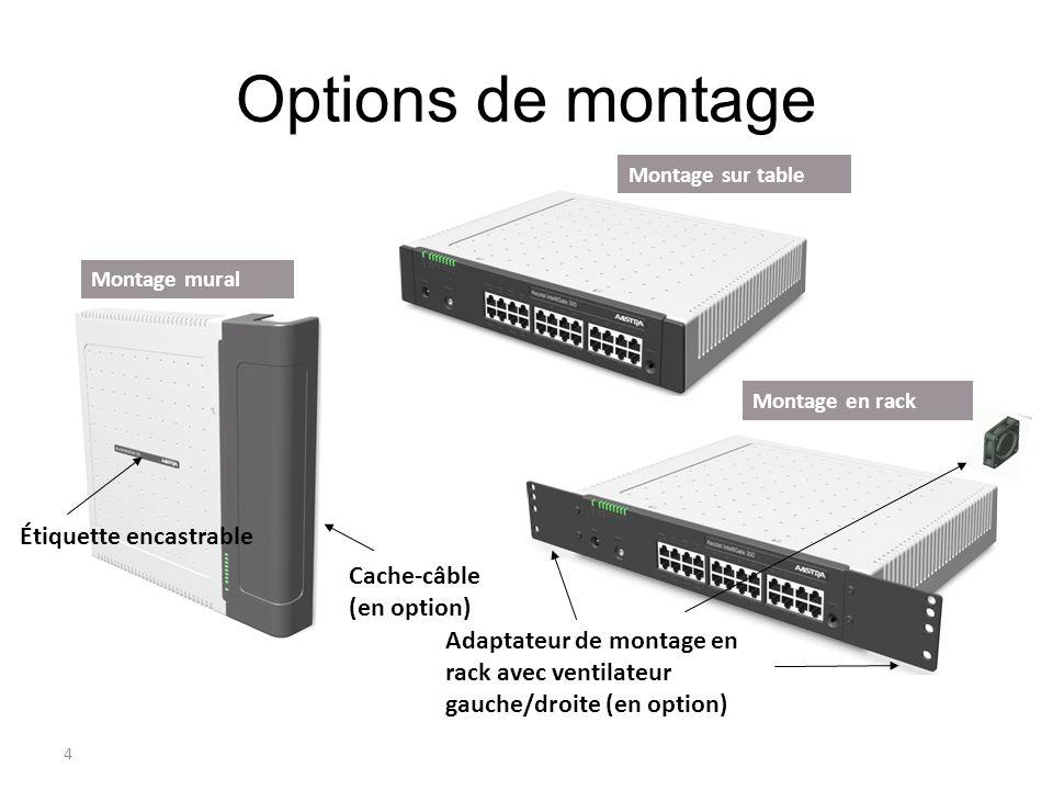 4 Options de montage Rack Cache-câble (en option) Adaptateur de montage en rack avec ventilateur gauche/droite (en option) Étiquette encastrable Monta