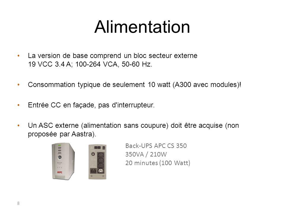 8 Alimentation La version de base comprend un bloc secteur externe 19 VCC 3.4 A; 100-264 VCA, 50-60 Hz. Consommation typique de seulement 10 watt (A30