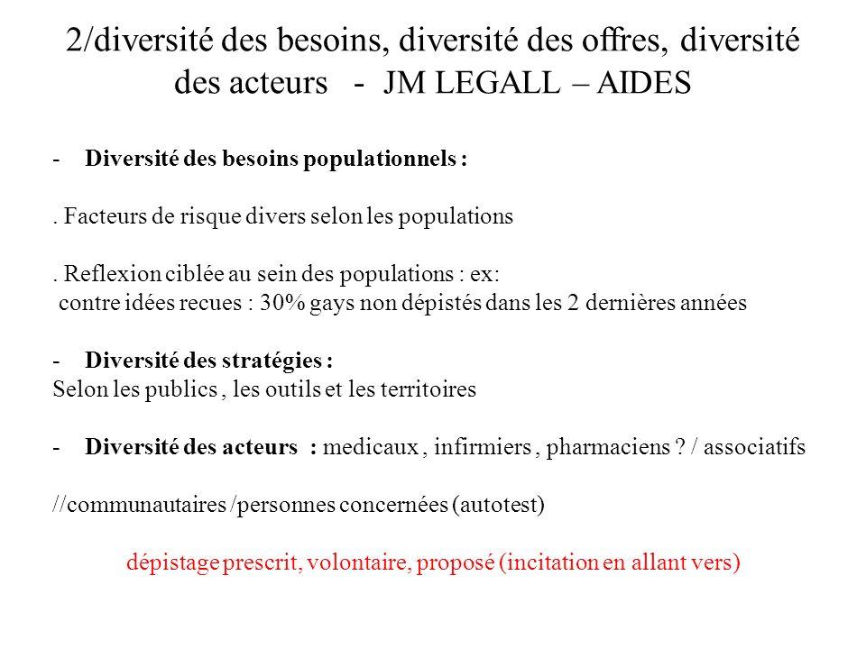 2/diversité des besoins, diversité des offres, diversité des acteurs - JM LEGALL – AIDES -Diversité des besoins populationnels :.