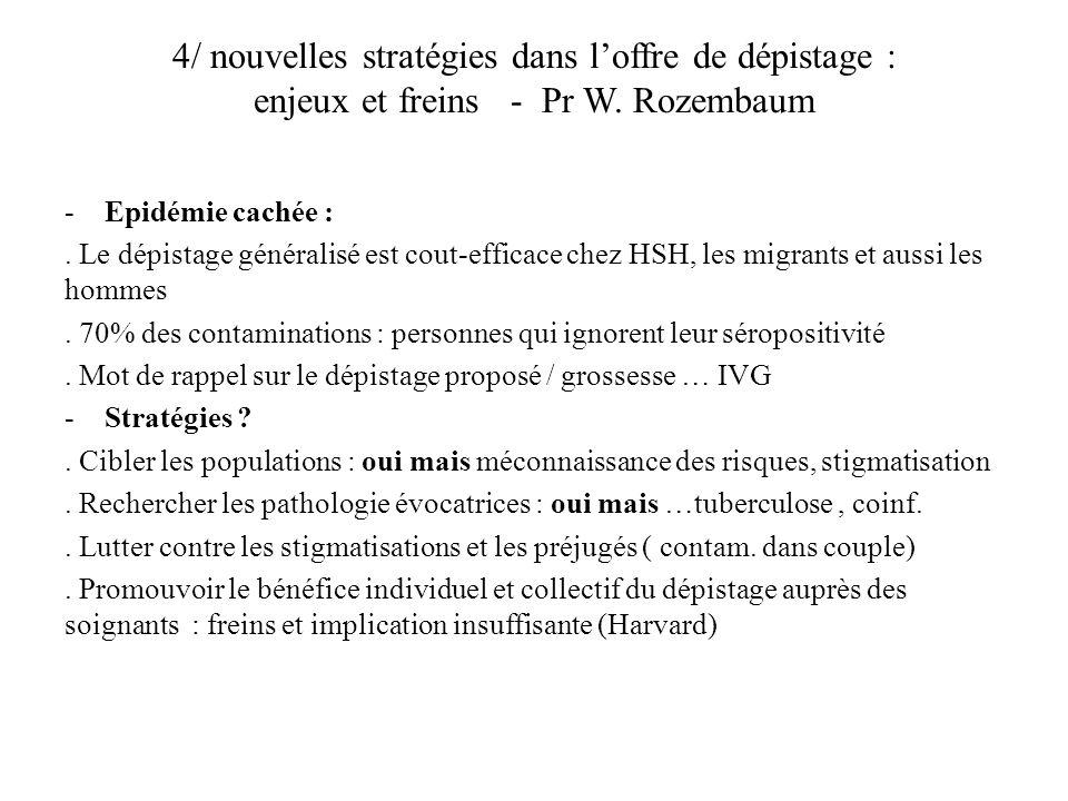 4/ nouvelles stratégies dans loffre de dépistage : enjeux et freins - Pr W.