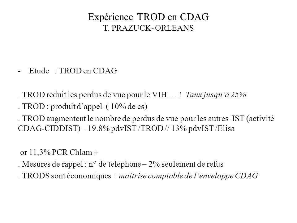 Expérience TROD en CDAG T. PRAZUCK- ORLEANS -Etude : TROD en CDAG. TROD réduit les perdus de vue pour le VIH … ! Taux jusquà 25%. TROD : produit dappe