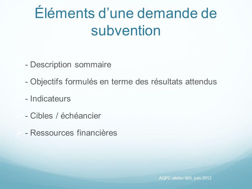 Éléments dune demande de subvention - Description sommaire - Objectifs formulés en terme des résultats attendus - Indicateurs - Cibles / échéancier - Ressources financières AQPC atelier 605, juin 2012