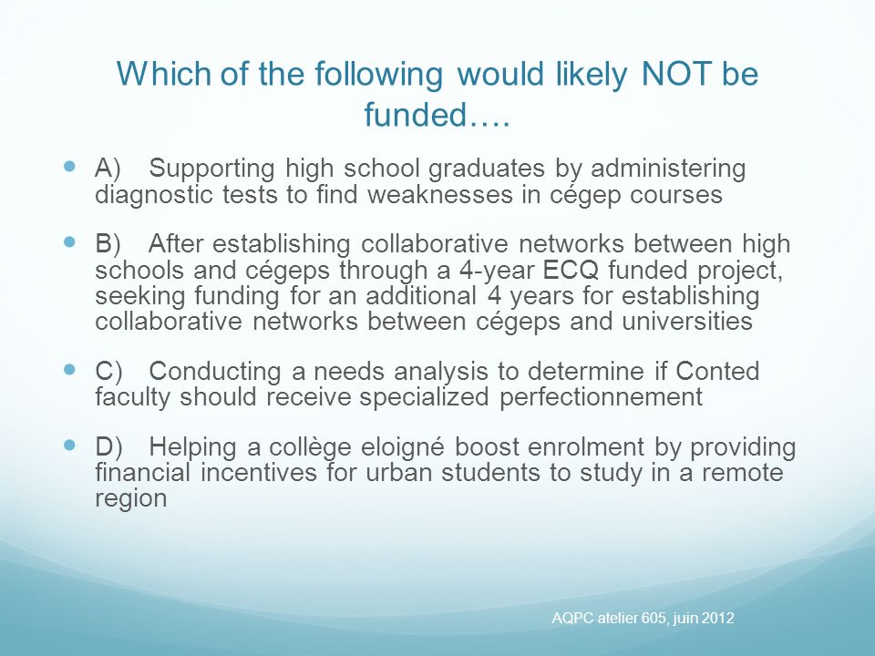 Which of the following would likely NOT be funded….