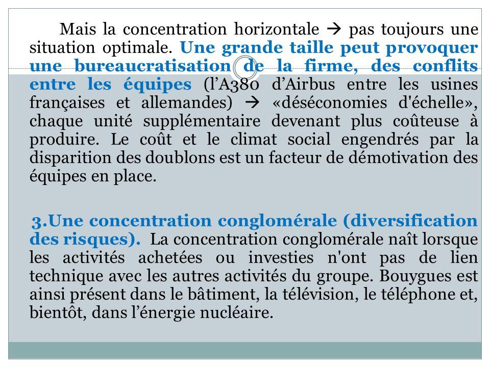 Mais la concentration horizontale pas toujours une situation optimale. Une grande taille peut provoquer une bureaucratisation de la firme, des conflit