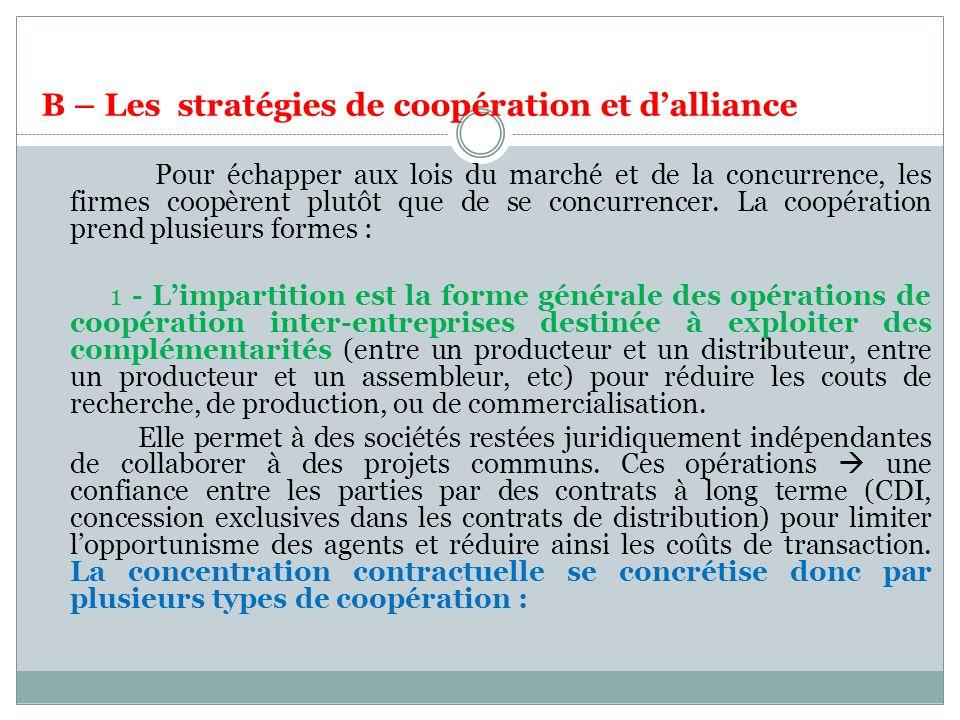 B – Les stratégies de coopération et dalliance Pour échapper aux lois du marché et de la concurrence, les firmes coopèrent plutôt que de se concurrencer.