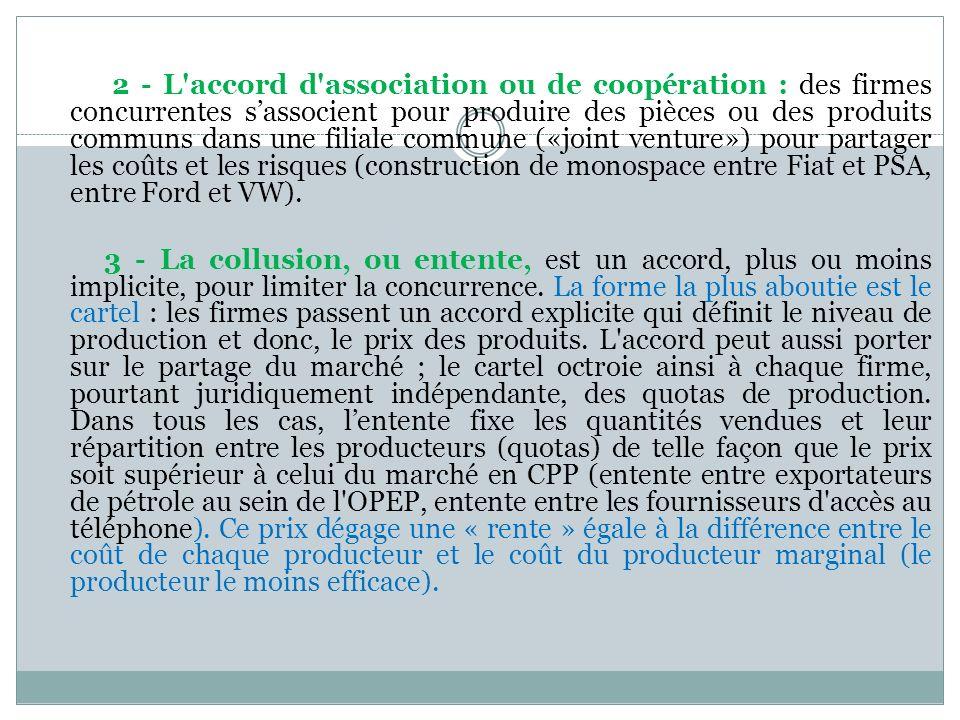 2 - L'accord d'association ou de coopération : des firmes concurrentes sassocient pour produire des pièces ou des produits communs dans une filiale co