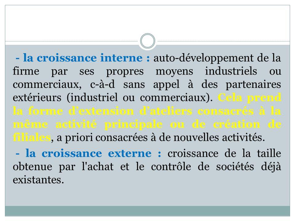 - la croissance interne : auto-développement de la firme par ses propres moyens industriels ou commerciaux, c-à-d sans appel à des partenaires extérie