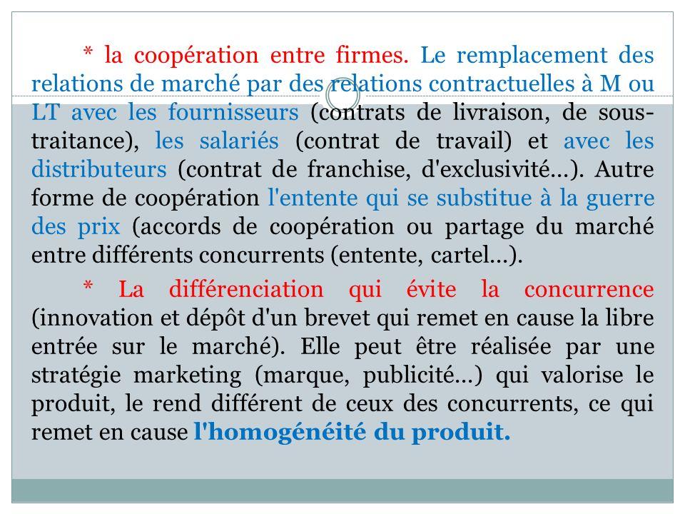 * la coopération entre firmes. Le remplacement des relations de marché par des relations contractuelles à M ou LT avec les fournisseurs (contrats de l