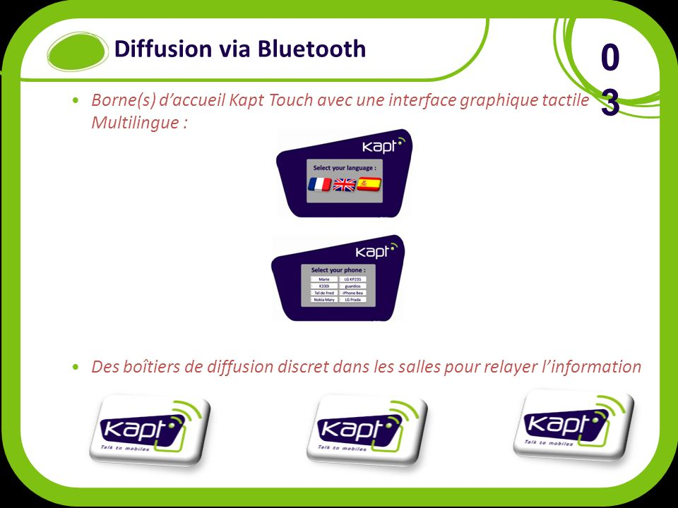 Diffusion via Bluetooth Borne(s) daccueil Kapt Touch avec une interface graphique tactile Multilingue : Des boîtiers de diffusion discret dans les salles pour relayer linformation 0303