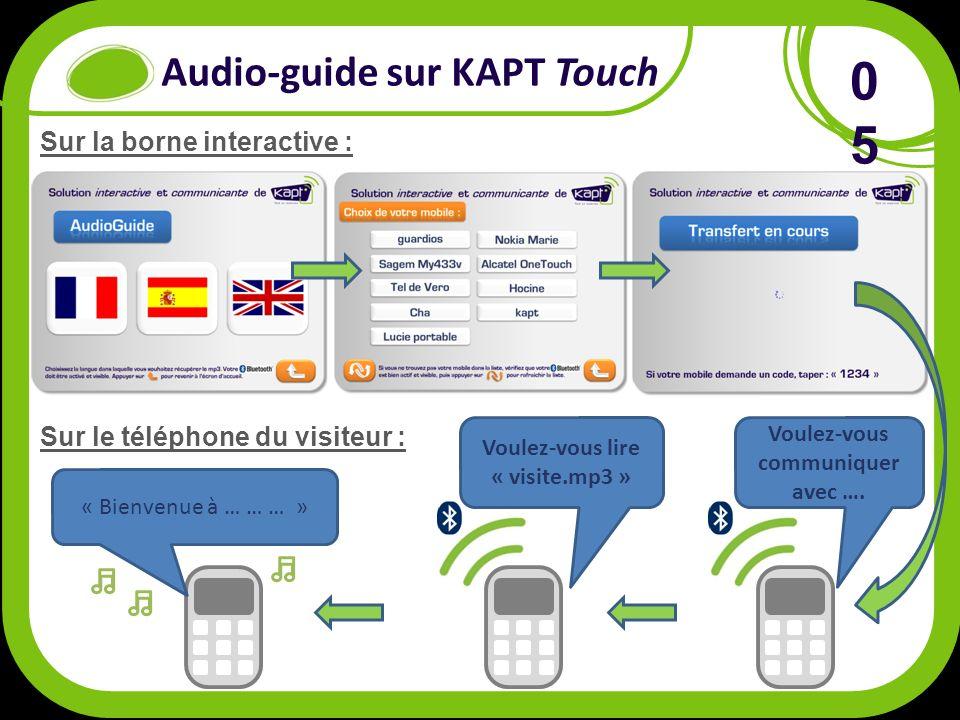 Audio-guide sur KAPT Touch 0505 Sur la borne interactive : Sur le téléphone du visiteur : Voulez-vous communiquer avec ….
