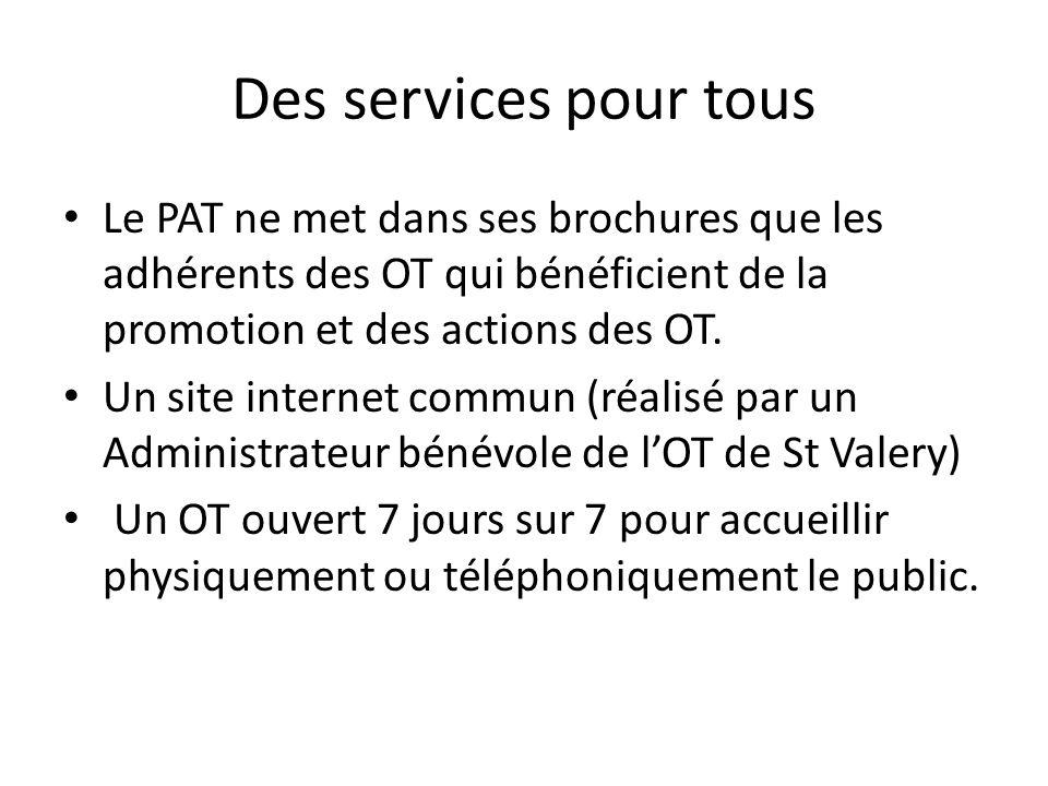 Des services pour tous Le PAT ne met dans ses brochures que les adhérents des OT qui bénéficient de la promotion et des actions des OT. Un site intern
