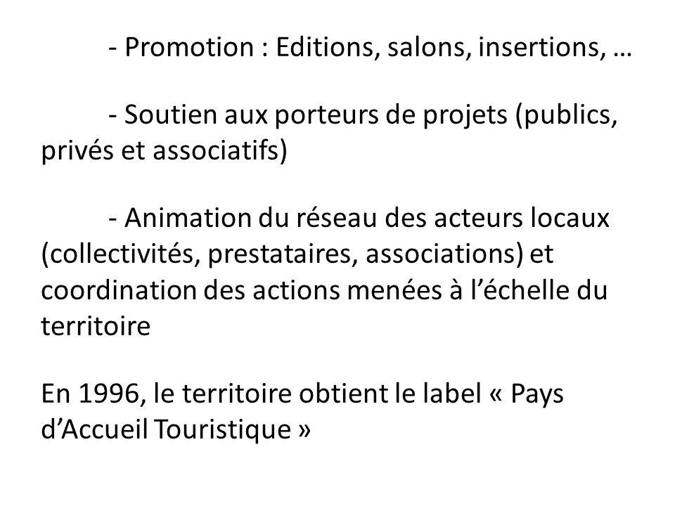 - Promotion : Editions, salons, insertions, … - Soutien aux porteurs de projets (publics, privés et associatifs) - Animation du réseau des acteurs loc