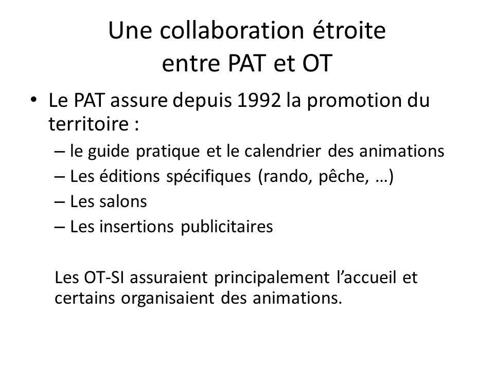 Une collaboration étroite entre PAT et OT Le PAT assure depuis 1992 la promotion du territoire : – le guide pratique et le calendrier des animations –