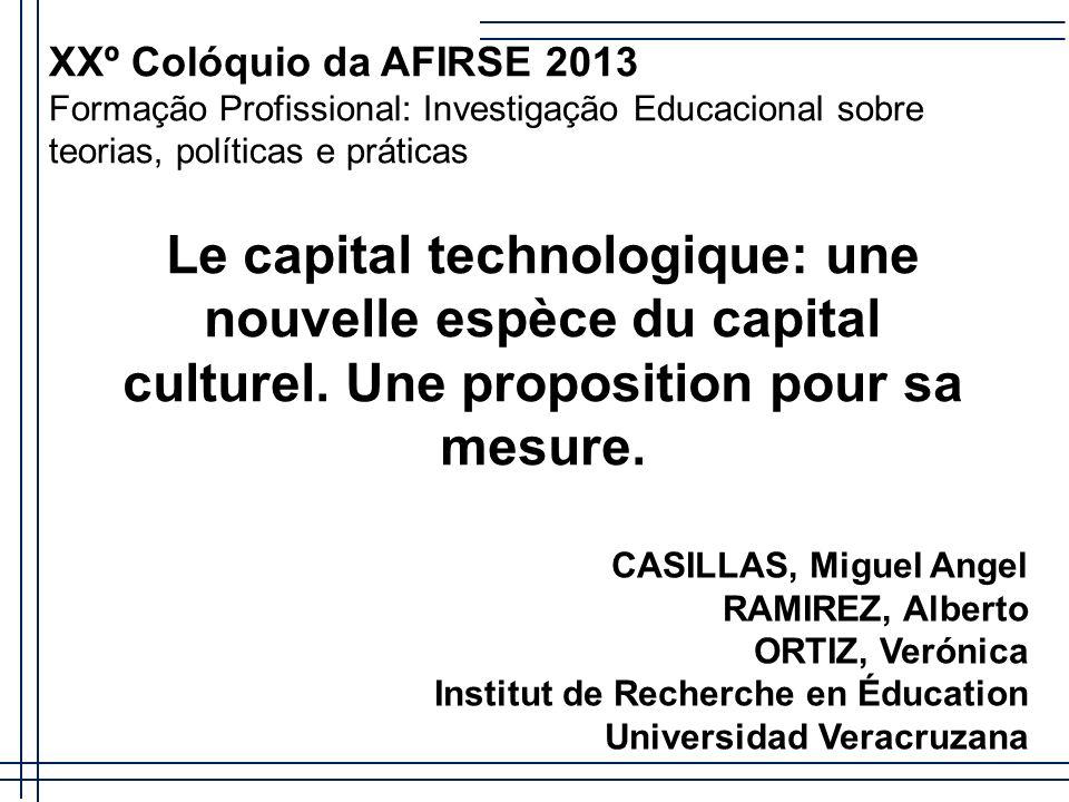 Introductio n Une nouvelle espèce de capital culturel se crée et prend importance dans l´Université: le capital technologique.