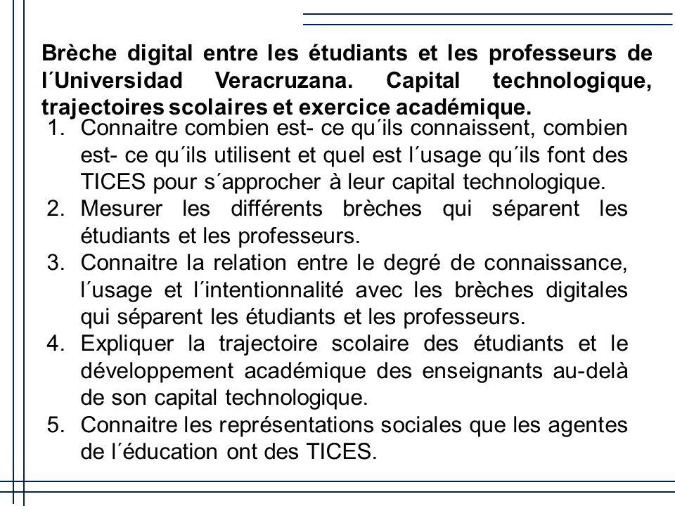 Brèche digital entre les étudiants et les professeurs de l´Universidad Veracruzana.