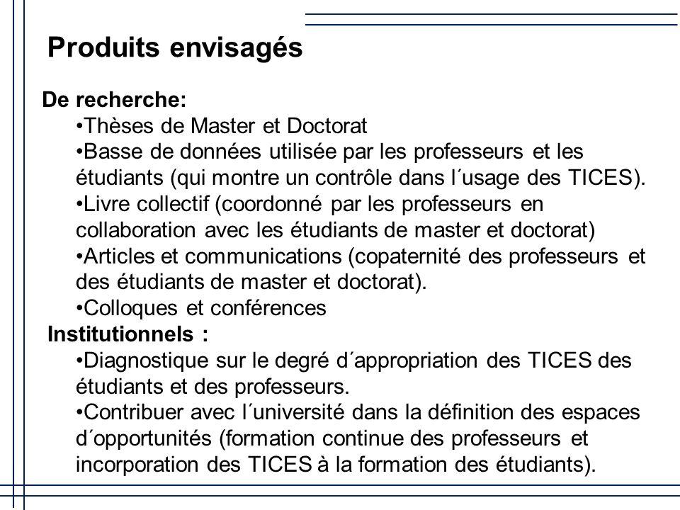 De recherche: Thèses de Master et Doctorat Basse de données utilisée par les professeurs et les étudiants (qui montre un contrôle dans l´usage des TICES).