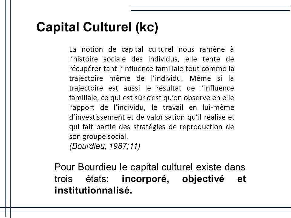 Capital Culturel (kc) La notion de capital culturel nous ramène à lhistoire sociale des individus, elle tente de récupérer tant linfluence familiale tout comme la trajectoire même de lindividu.