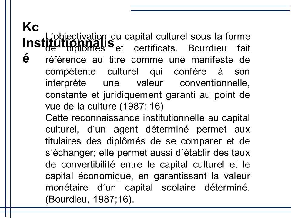 Capital Culturel (kc) (Bourdieu,1987) Incorporé Objectivé Institutionnalisé Capital Technologique (kt) kt Incorporé kt Objectivé kt Institutionnalisé kt une espèce du capital culturel