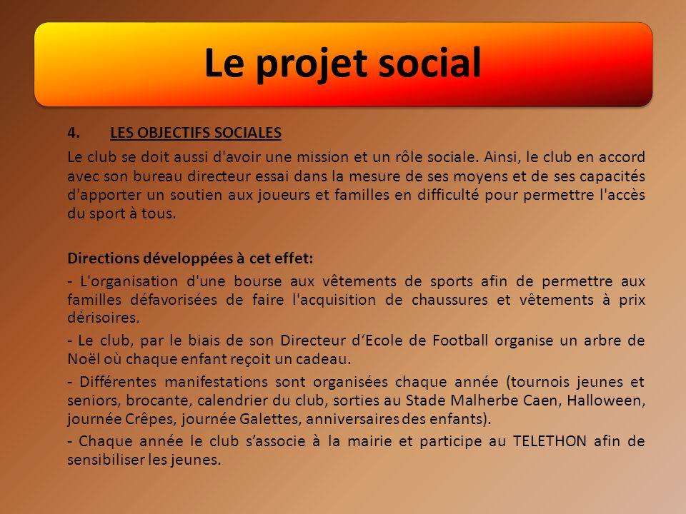 Le projet social 4.LES OBJECTIFS SOCIALES Le club se doit aussi d avoir une mission et un rôle sociale.