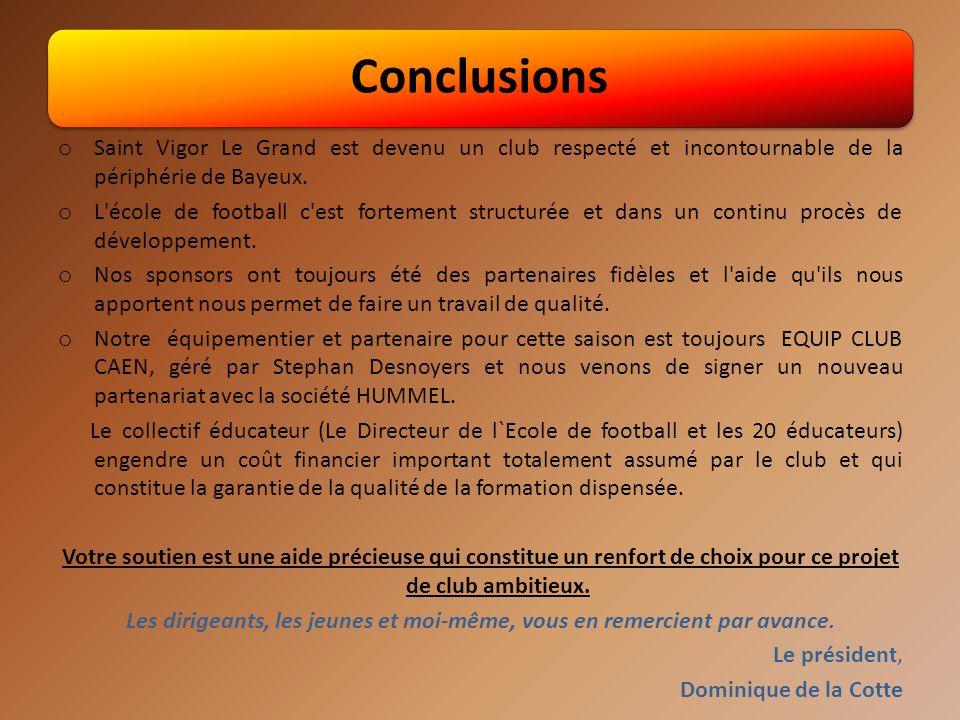 Conclusions o Saint Vigor Le Grand est devenu un club respecté et incontournable de la périphérie de Bayeux.