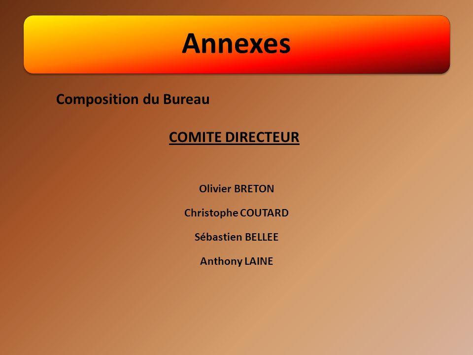 Annexes Olivier BRETON Christophe COUTARD Sébastien BELLEE Anthony LAINE Composition du Bureau COMITE DIRECTEUR