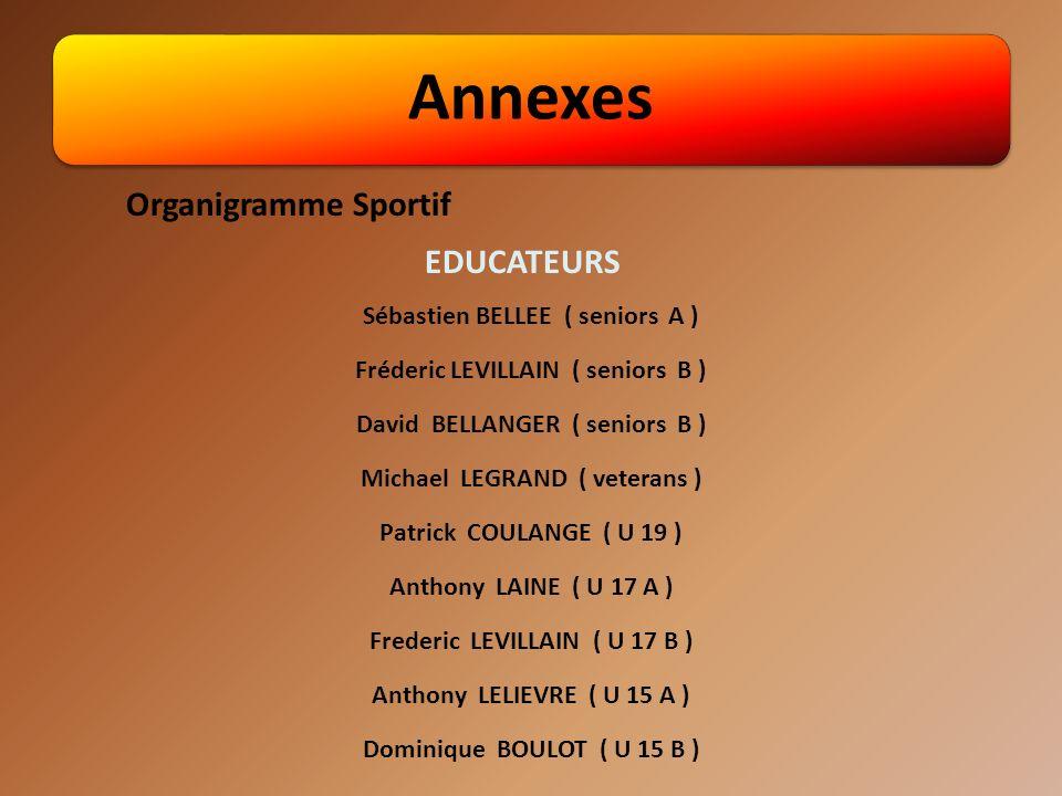Annexes Sébastien BELLEE ( seniors A ) Fréderic LEVILLAIN ( seniors B ) David BELLANGER ( seniors B ) Michael LEGRAND ( veterans ) Patrick COULANGE ( U 19 ) Anthony LAINE ( U 17 A ) Frederic LEVILLAIN ( U 17 B ) Anthony LELIEVRE ( U 15 A ) Dominique BOULOT ( U 15 B ) Organigramme Sportif EDUCATEURS
