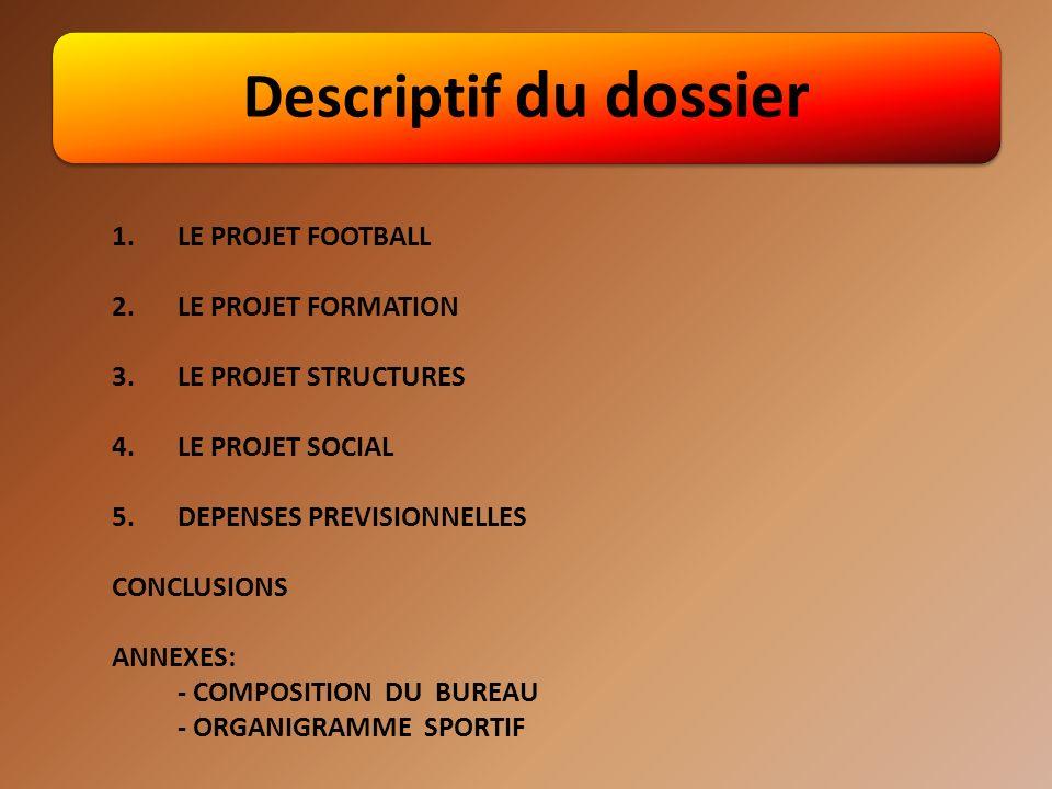 Descriptif du dossier 1.LE PROJET FOOTBALL 2.LE PROJET FORMATION 3.LE PROJET STRUCTURES 4.LE PROJET SOCIAL 5.DEPENSES PREVISIONNELLES CONCLUSIONS ANNEXES: - COMPOSITION DU BUREAU - ORGANIGRAMME SPORTIF