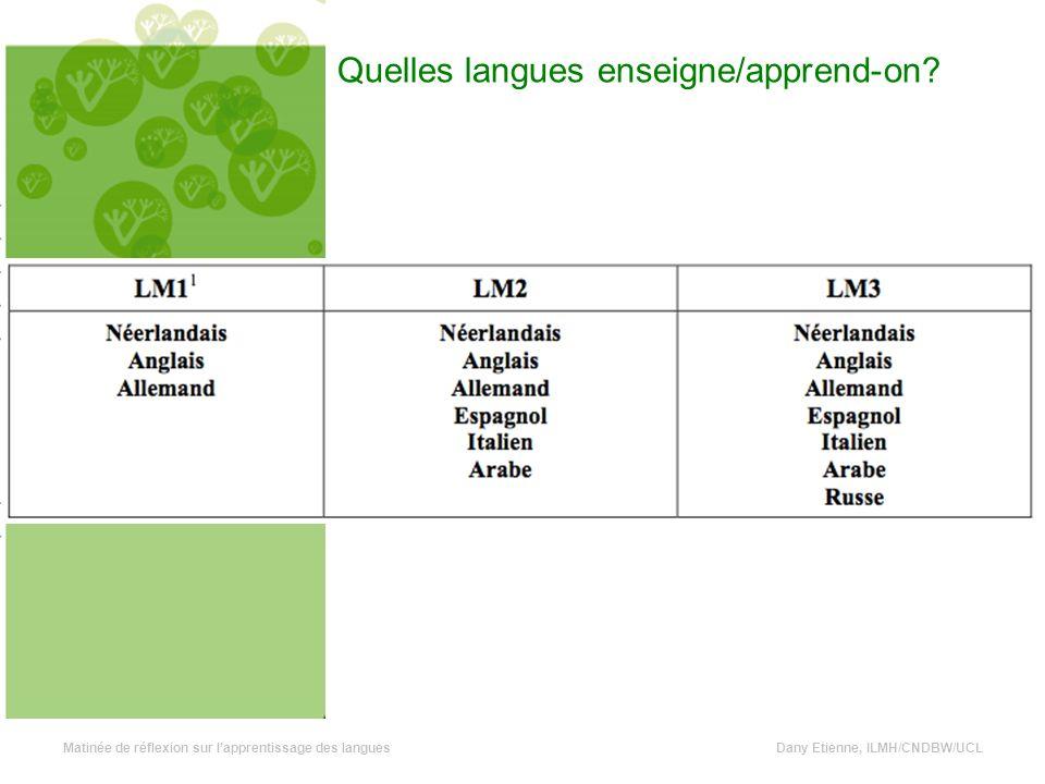 Quelles langues enseigne/apprend-on.