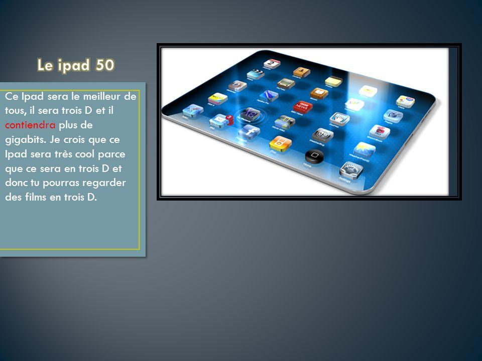 Ce Ipad sera le meilleur de tous, il sera trois D et il contiendra plus de gigabits. Je crois que ce Ipad sera très cool parce que ce sera en trois D