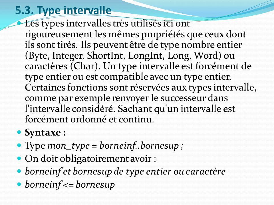 5.3. Type intervalle Les types intervalles très utilisés ici ont rigoureusement les mêmes propriétés que ceux dont ils sont tirés. Ils peuvent être de