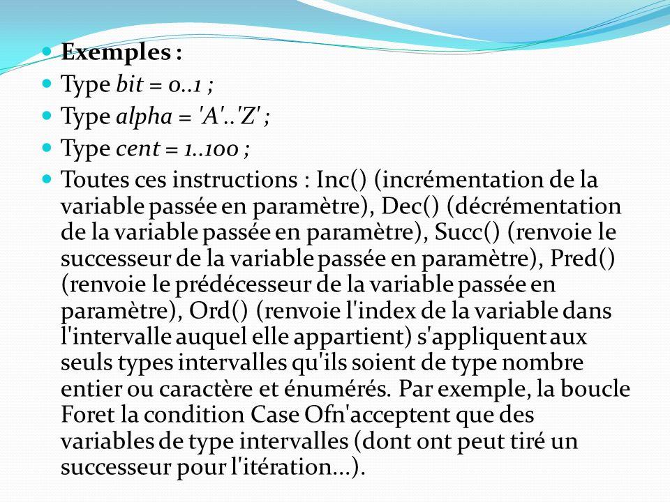 Exemples : Type bit = 0..1 ; Type alpha = 'A'..'Z' ; Type cent = 1..100 ; Toutes ces instructions : Inc() (incrémentation de la variable passée en par