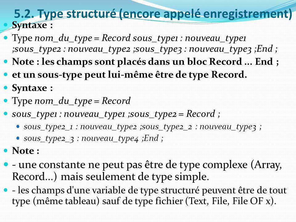 5.2. Type structuré (encore appelé enregistrement) Syntaxe : Type nom_du_type = Record sous_type1 : nouveau_type1 ;sous_type2 : nouveau_type2 ;sous_ty