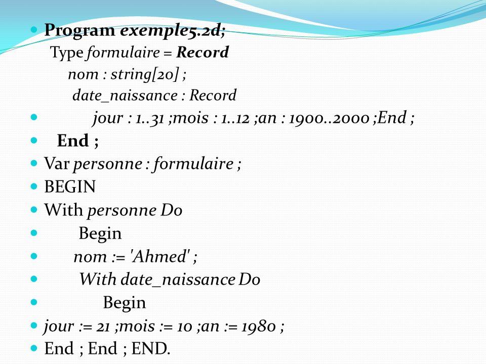 Program exemple5.2d; Type formulaire = Record nom : string[20] ; date_naissance : Record jour : 1..31 ;mois : 1..12 ;an : 1900..2000 ;End ; End ; Var