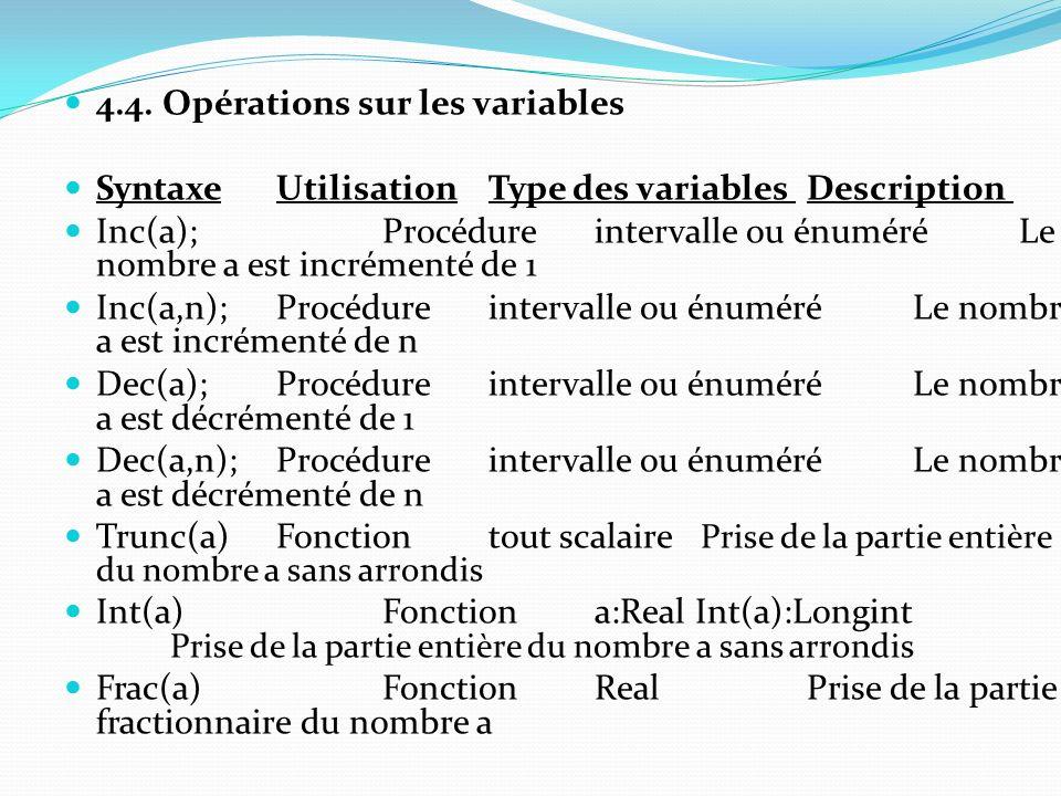 4.4. Opérations sur les variables Syntaxe Utilisation Type des variables Description Inc(a); Procédure intervalle ou énuméré Le nombre a est incrément