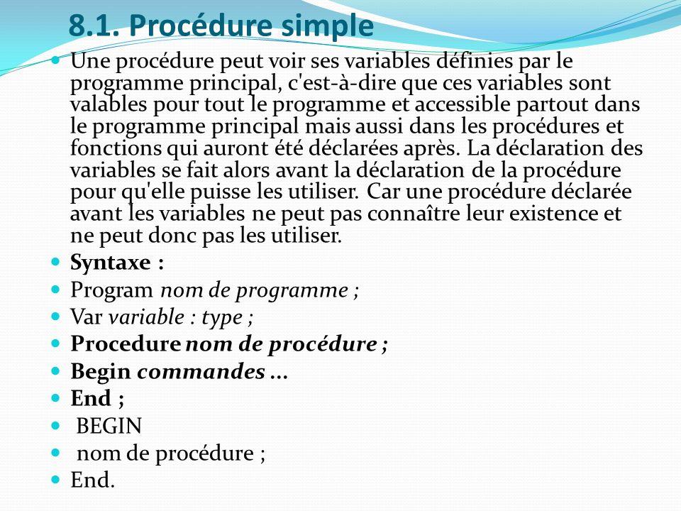 8.1. Procédure simple Une procédure peut voir ses variables définies par le programme principal, c'est-à-dire que ces variables sont valables pour tou