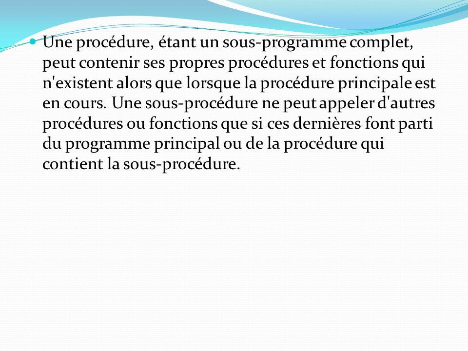 Une procédure, étant un sous-programme complet, peut contenir ses propres procédures et fonctions qui n'existent alors que lorsque la procédure princi