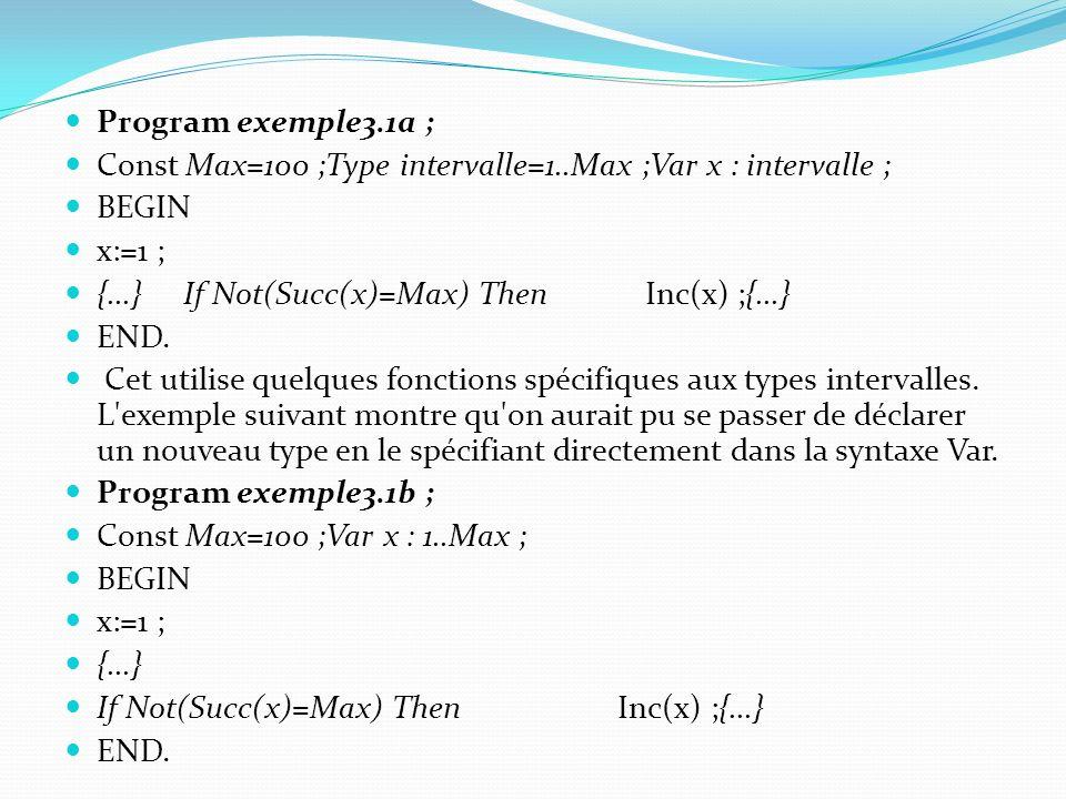 Syntaxe : Var nom_du_tableau : Array[MinDim..MaxDim] Of type ; Note : les valeurs MinDim et MaxDim doivent être des Integer ou des Char (c est-à-dire de type énuméré).
