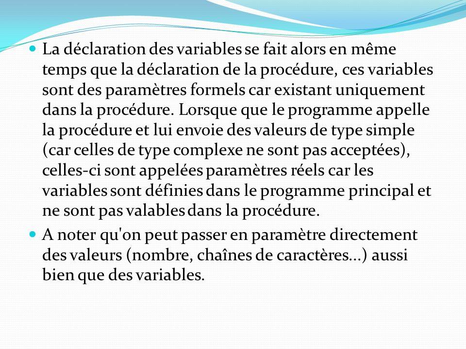 La déclaration des variables se fait alors en même temps que la déclaration de la procédure, ces variables sont des paramètres formels car existant un
