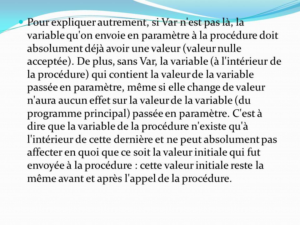 Pour expliquer autrement, si Var n'est pas là, la variable qu'on envoie en paramètre à la procédure doit absolument déjà avoir une valeur (valeur null