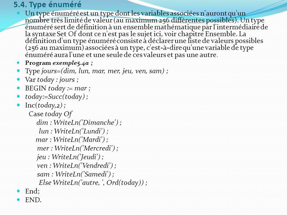 5.4. Type énuméré Un type énuméré est un type dont les variables associées n'auront qu'un nombre très limité de valeur (au maximum 256 différentes pos