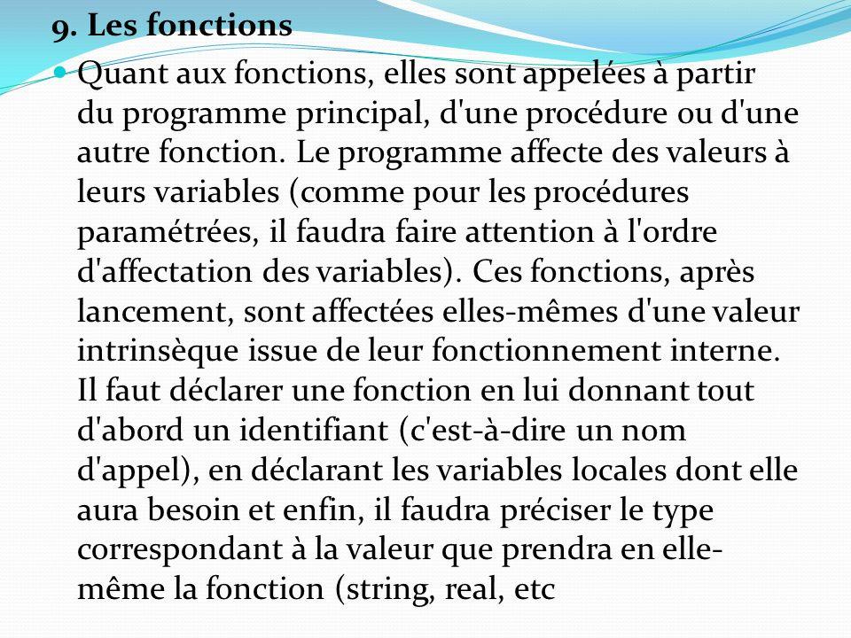 9. Les fonctions Quant aux fonctions, elles sont appelées à partir du programme principal, d'une procédure ou d'une autre fonction. Le programme affec