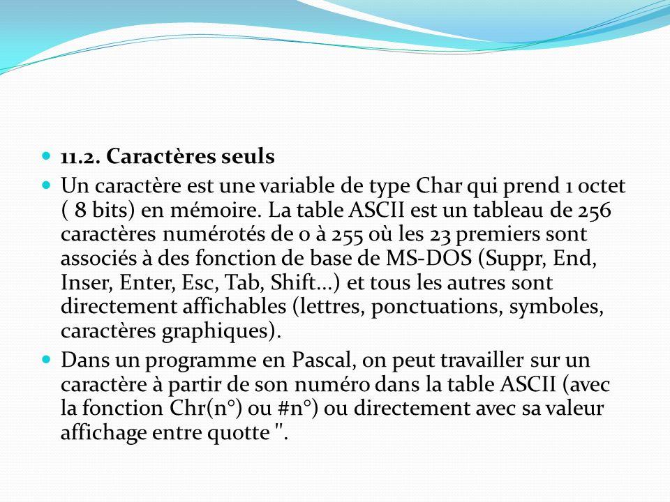 11.2. Caractères seuls Un caractère est une variable de type Char qui prend 1 octet ( 8 bits) en mémoire. La table ASCII est un tableau de 256 caractè