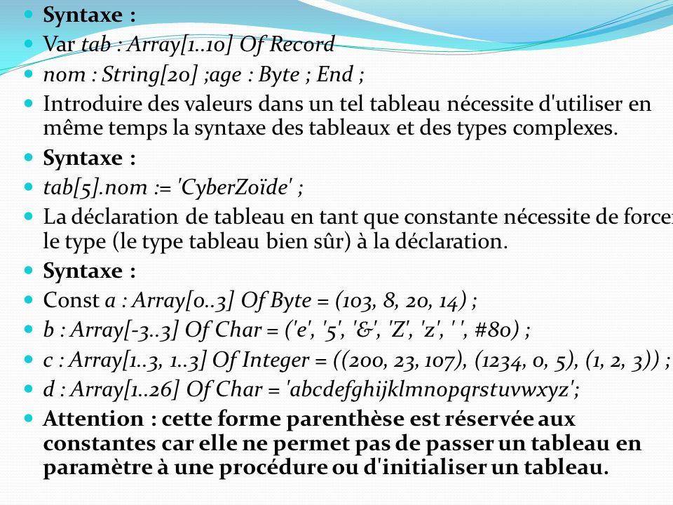 Syntaxe : Var tab : Array[1..10] Of Record nom : String[20] ;age : Byte ; End ; Introduire des valeurs dans un tel tableau nécessite d'utiliser en mêm