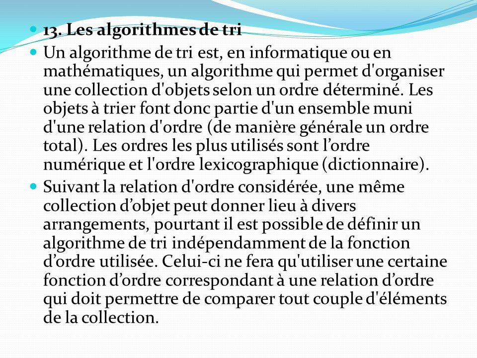 13. Les algorithmes de tri Un algorithme de tri est, en informatique ou en mathématiques, un algorithme qui permet d'organiser une collection d'objets