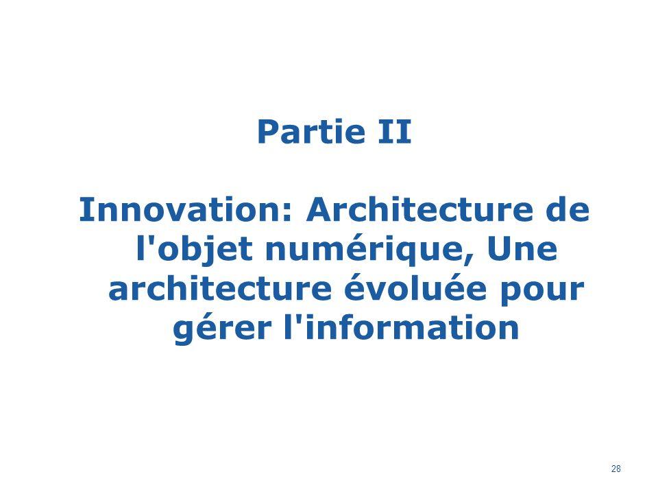 Partie II Innovation: Architecture de l objet numérique, Une architecture évoluée pour gérer l information 28