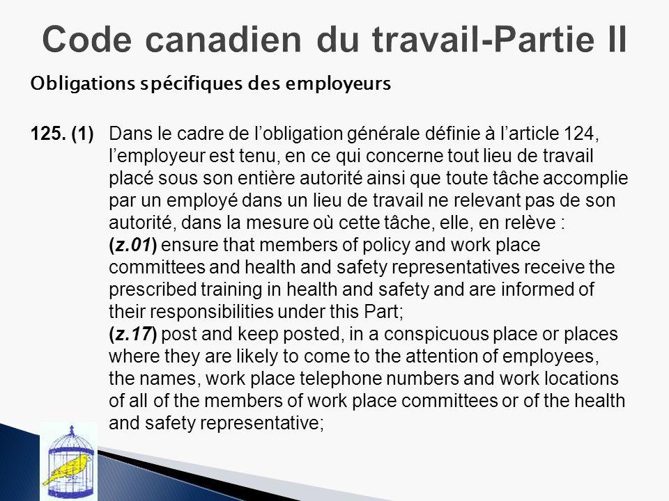 Obligations spécifiques des employeurs 125.