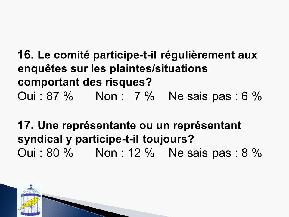 16. Le comité participe-t-il régulièrement aux enquêtes sur les plaintes/situations comportant des risques? Oui : 87 % Non : 7 % Ne sais pas : 6 % 17.